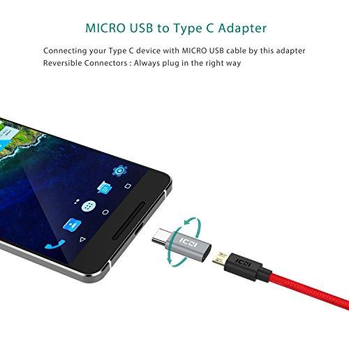 ICZI USB C a Micro USB Adattatore(1 Pz) + USB C a USB 3.0 Adattatore(1 Pz), Alluminio Body, per Macbook, Chromebook Pixel, HTC 10, LG G5, Nexus 5X/6P, Asus ZenFone 3, Nokia N1, One Plus 2/3, Huawei P9/Plus e Altri (Grigio Siderale)