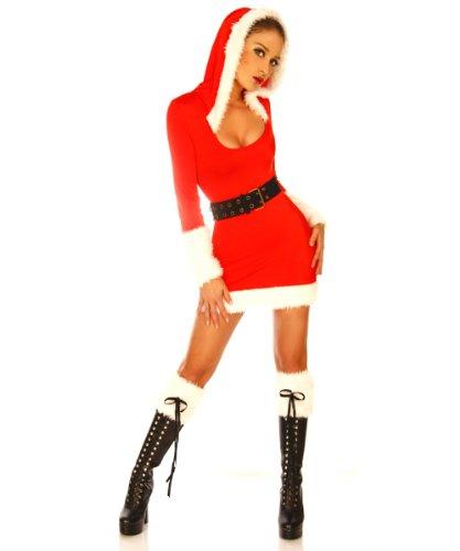 LH-Dessous - 10603 XS-M Sexy Nikolaus-Kostüm 5-teilig, bestehend aus einem Minikleid mit Kaputze, zwei Stulpen aus Kunstfell, einem Grütel und einem String