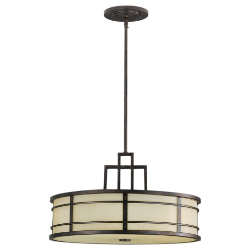 Murray Feiss F2081/3GBZ Fusion Three-Light Uplight Chandelier, Grecian Bronze with Amber Ribbed Glass Caged Bowl