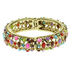 Gold Tone Multi Colored Crystal and Beads Bangle Bracelet Fashion Jewelry
