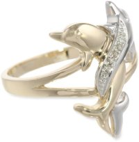 10k Two-Tone Gold Diamond-Accent Intertwined Dolphin Ring ...