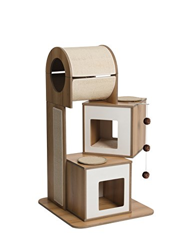 Vesper Cat Furniture, Walnut, 3 level cat scratching posts cat trees