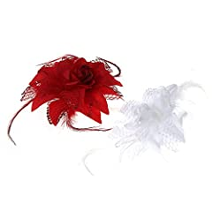 FACILLA® 2 PCS Feather Flower Corsage Brooch Hair Clip Wedding Fascinator Red White