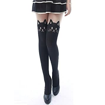 Eforcase Lovely Sexy Cat Leggings Tattoo Socks Slim Tights Stockings for Ladys Black