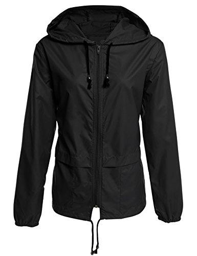 ZEARO Damen Regenjacke Regenmantel Raincoat mit Kapuze Winddicht Wasserdicht Wetterschutzjacke Jacket Gr.34-46