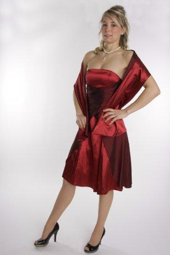 Modell 2030 Abendkleid knielang, schulterfrei, weinrot Größe 42