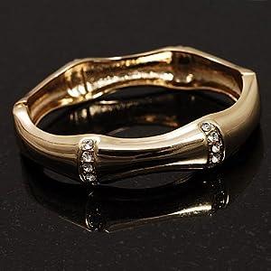 Gold Clear Crystal Hinged Fashion Bangle Bracelet