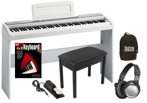 Korg SP-170s White Digital Piano COMPLETE BUNDLE w/ Wood Bench & Stand