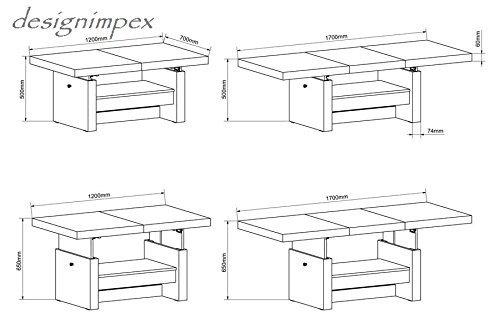 Design Couchtisch H111 Wei Hochglanz Schublade