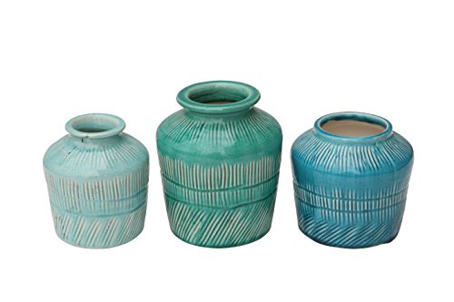 Distressed Aqua Blue Stoneware Vase Set