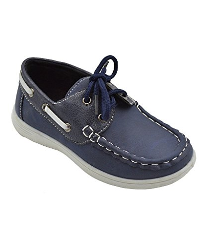 coXist Boy's Suede PU Boat Shoe (Big Kid/Little Kid/Toddler) in Navy Size: 9 Toddler