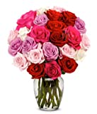 From You Flowers - Roses Galore in Red, Pink, Purple & White - 2 Dozen (Free Vase Included)