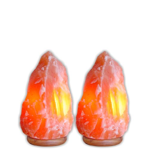 7-inch - Indus Classic Special Mother Day Gifts Packof 2, Himalayan Crystal Salt Lamps 5~7 Pounds. Get Free 125 Grams Gourmet Pink Edible Food Grade Salt.