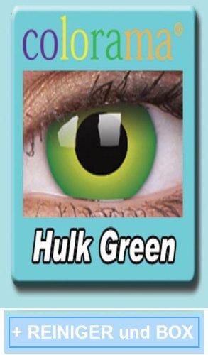 Farbige Kontaktlinsen Crazy Lenses Kostüm Karneval HULK GREEN / GRÜN inkl. 60 ml Pflegemittel und Behälter