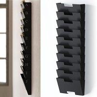Black Wall Mount Steel Vertical File Organizer Holder Rack ...