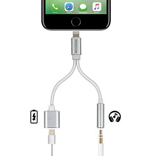 WOOCON iPhone7 7 Plus ライトニングポート Lightning Port 8pin ライトニングケーブル 3.5mm Audio オーディオ ジャック イヤホン ヘッドホン インタフェース 変換 アダプタ 充電ケーブル音楽制御をサポートするわけではありません
