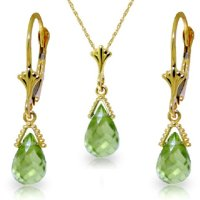 ! 14k Gold Jewelry Set: Natural Briolette Peridot Pendant ...