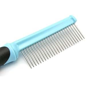 pet fur grooming shedding brush b rake dog cat long short hair metal pin b blue