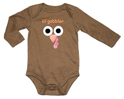 Assorted-Turkey-Baby-Boys-Girls-Thanksgiving-Long-Sleeve-Bodysuit-Outfit-18-Months-Brown-Double-Sided-lil-gobbler