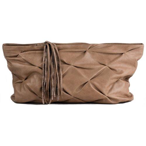 FEYNSINN Tote-Handtasche LILLY Clutch beige, Abendtasche echt Leder