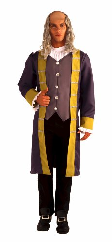 Forum Patriotic Party Collection Ben Franklin Complete Costume, Grey/Brown, Standard
