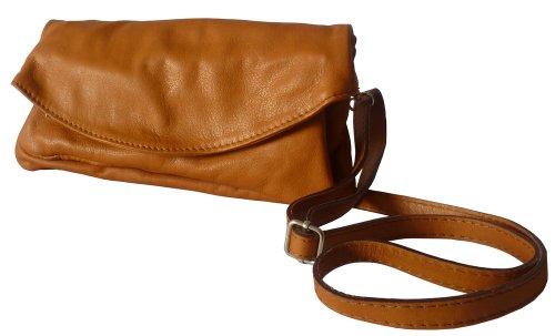 MyJoy Umhängetasche/Clutch aus Leder in braun
