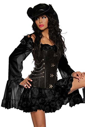 "AT Longbluse ""Piratenbraut"" Piratenkleid in schwarz inkl. String Karneval"