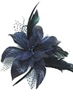 Navy Blue Flower and Spotted Net Bridal Hair Comb Fascinator
