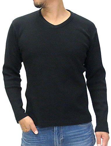 (エドウィン) EDWIN カットソー Tシャツ メンズ ブランド 長袖 無地 Vネック ワッフル 4color M ブラック 41uPPJLQvfL