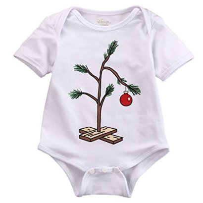 Infant-Baby-Girl-Boy-Christmas-Tree-Romper-Bodysuit-Jumpsuit-Outfit-0-18M-12-18-Months-White