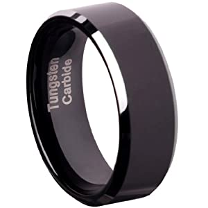 Tungsten Carbide 8 mm (5/16 in) Comfort Fit Flat Wedding Band Ring w/ Black Brushed Center & Silver Beveled Edge, Size 8.5