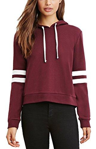 SMITHROAD Damen Sweatshirt mit Kapuze und Kordelzug Kurzer Hoodie Kapuzenpullover Hooded Sweater Weinrot XS-L