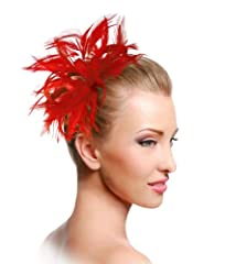The Red Hat Society® by Luke Song Bridal Feathered Fascinator ARM39 Red