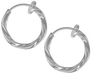 Amazon.com: Pair of Twisted Silver Color Non-Pierced Clip