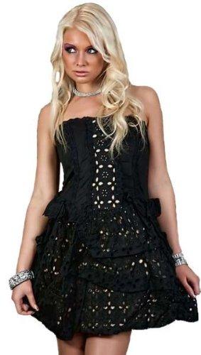 Korsagen Baumwoll Sommerkleid Minikleid schwarz