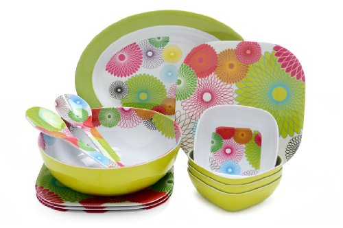 French Bull 12-Piece Melamine Dinnerware Set, Spirals