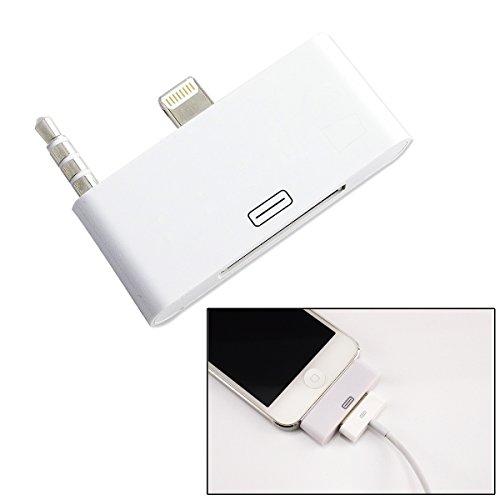 iPhone5/5C/5S/iPod Touch5用3.5mm& Lightning-Dock 8pinオス-30pinメス音声対応 変換アダプタ ios7対応 ホワイト
