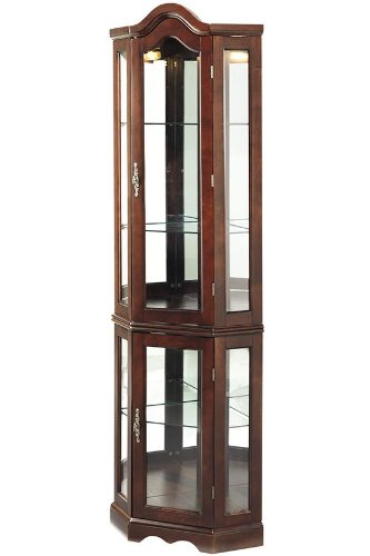 Lighted Corner Curio Cabinet Mahogany  eBay