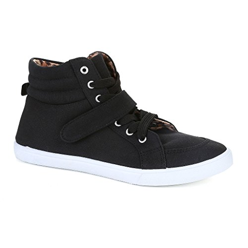 Twisted Women's Lane Lace-Up Hi-Top Fashion Sneakers- BLACK, Size 8