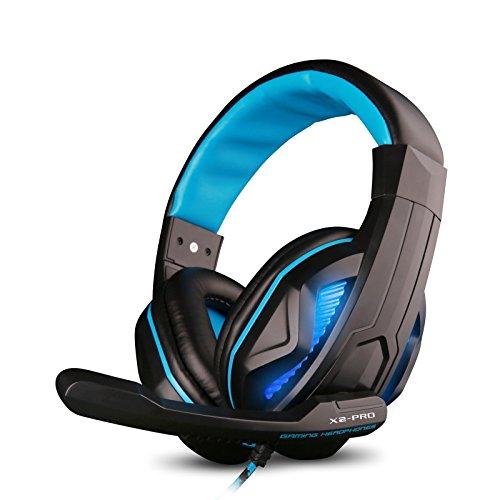 Sound Intone PCゲーミング ヘッドセット、耳を掛け、ノイズキャンセルとボリュームコントロール、フレキシブルマイクロフォン、コンピューターゲーム「LED」 AX2