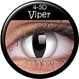 Farbige Kontaktlinsen crazy Kontaktlinsen MIT STÄRKE crazy contact lenses Katzenauge weiß Viper Cat Eye 1 Paar mit Verdrehschutz!Linsenbehälter gratis dazu!