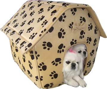 Soft Dog House With Paw Prints