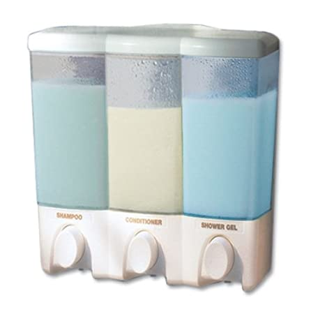 Amazon.com : Three Chamber Shower Dispenser We love having a dispenser for our shower gels, helps keep bathroom clutter down – and no worry about bottle falling while underway.