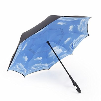 Landrind-Windproof-Reverse-Closing-Double-Layer-Inverted-Umbrella-and-Inside-Out-Upside-Down-Travel-Umbrella-with-Comfort-Grip-Handle-and-Self-standing-Top-Dia-415-Black-Sky-Blue