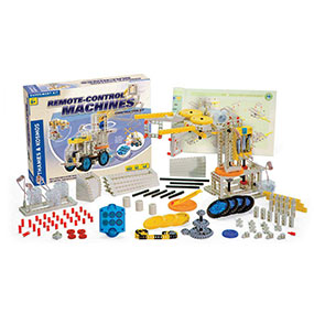 Remote Control Machines comes with 182 pieces, a 6 button touch sensitive remote control device and a 48 page instruction manual.