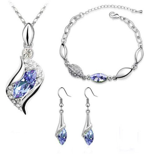 Platinum-plated Fashion Jewelry Set with Imported Crystal