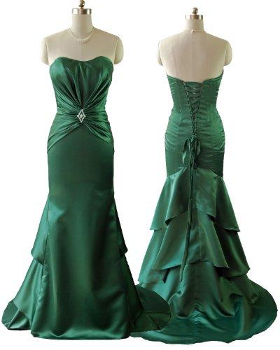 Qpid Showgirl langes Abendkleid mit Intensiv geraffte Satin und Perlen Details,grün, 5376GN (36, Grün)
