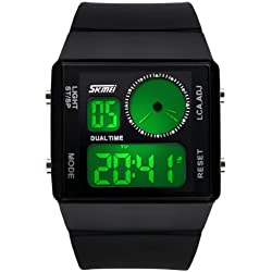 Fanmis Leisure Stylish Square Dial Waterproof LED Digital Unisex Black Rubber Strap Sport Wrist Watch