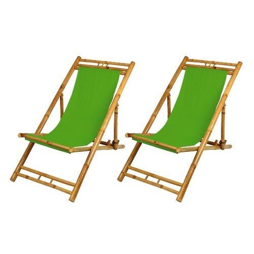 2 x Liegestühle Gartenliege Sonnenliege aus Bambus