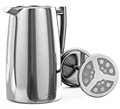 LeMeilleur French Press Coffee and Tea Maker - Double Wall Double Screen French Coffee Press - Quality Anti Rust Stainless Steel - 1 Liter